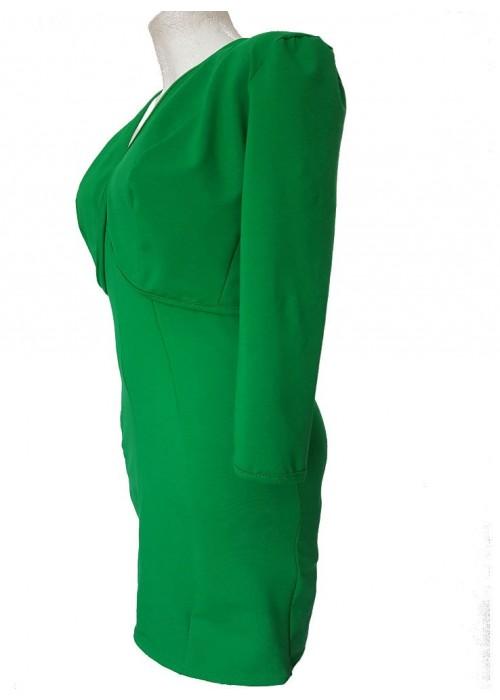 Zweiteiler - grüner Zweiteiler Kostüm aus Kurzjacke und Cocktailkleid Baumwolle Stretch mit Träger Größen 34 - 52 -