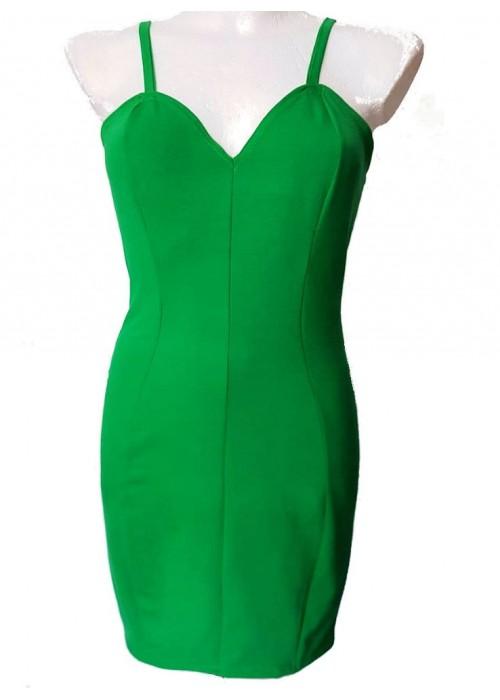 Baumwoll-Kleider - Grünes Stretch Baumwolle Trägerkleid Größe -