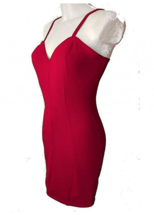 Baumwoll-Kleider - Rotes Stretch Baumwolle Trägerkleid Cockteilkleid Größe 34 - 52 -