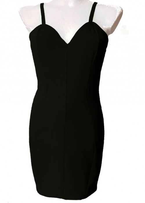 Baumwoll-Kleider - Das kleine Schwarze Stretch Baumwolle Trägerkleid Cockteilkleid Größe 34 - 52 -