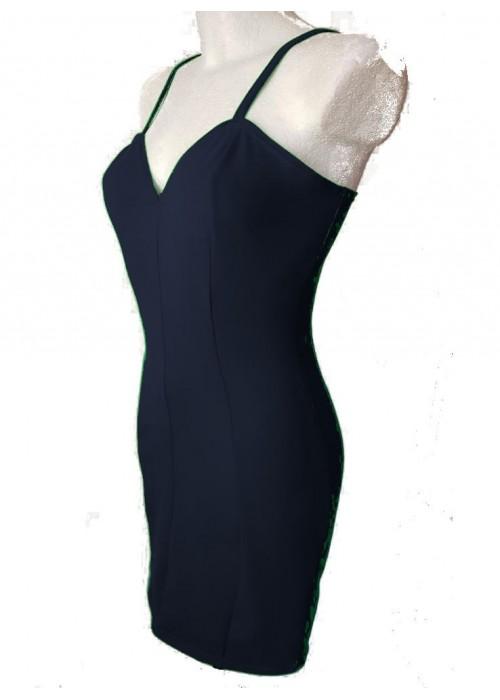Baumwoll-Kleider - Blaues Stretch Baumwolle Trägerkleid Cockteilkleid Größen 34 - 52 -