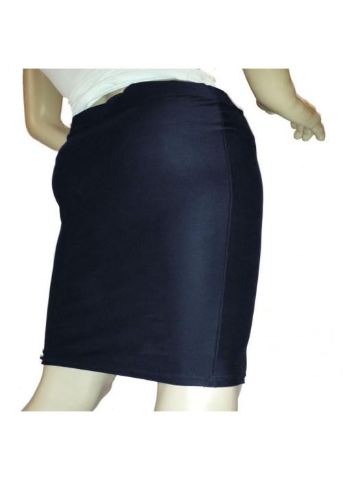 XXL Baumwoll-Röcke - Blauer Stretch Rock knielang Größen 44 - 52 -