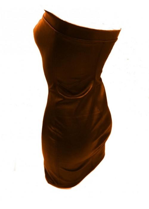 Leder Kleider - Leder Kleid orange -