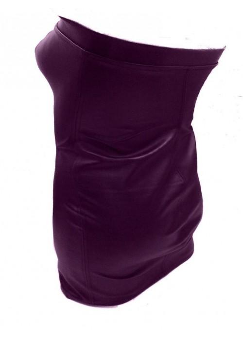 Designer Leder Kleid lila