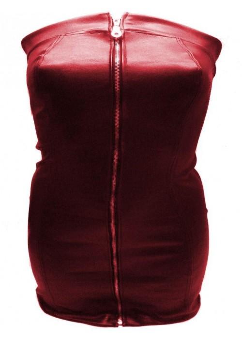 Designer Leder Kleid rot