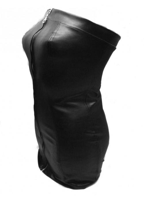 Designer Leder Kleid schwarz