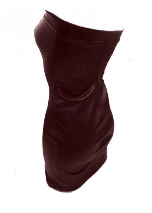 Leder Kleider - Leder Kleid braun -