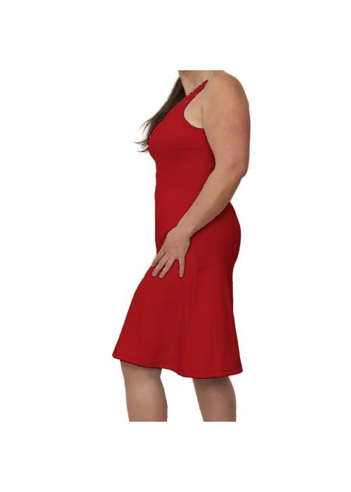 Rotes Trägerkleid mit V-Ausschnitt