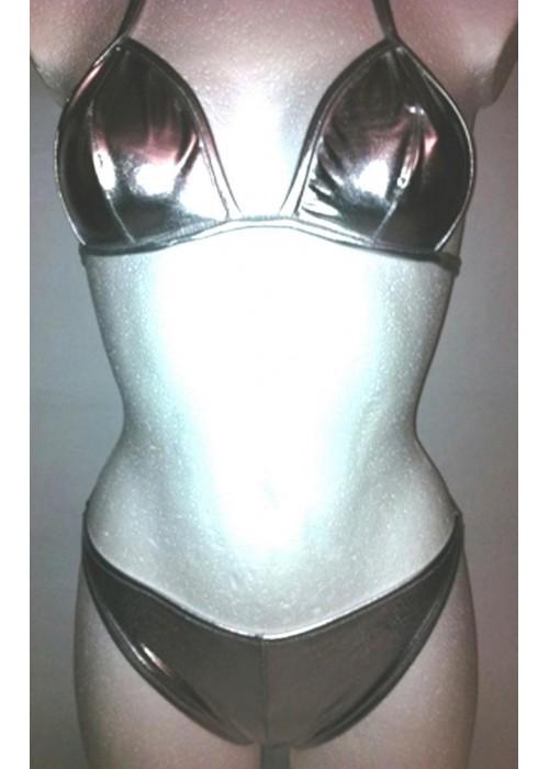 Mega silberner GoGo Neckholder String-Bikini
