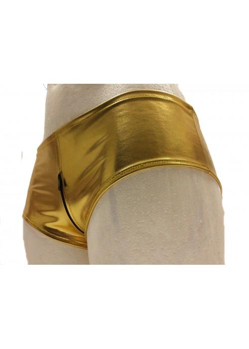 F.Girth Gold Hotpants Ouvert mit Reißverschluss