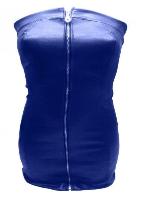 XXL Leder-Kleider - Designer Leder Kleid blau Größe L - XXL (44 - 52) -